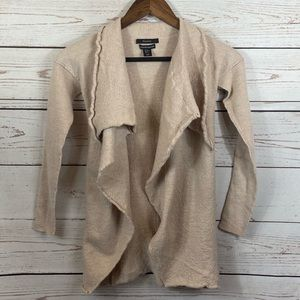 Tahari. Waterfall Open Front Cardigan. Merino Wool